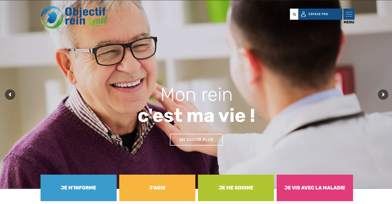 Conception du site web Objectif Rein Santé pour la FHP Rein l Bridge Communication